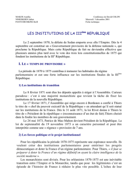 LES INSTITUTIONS DE LA III REPUBLIQUE