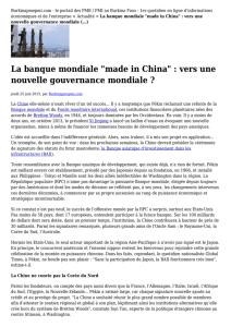 "La banque mondiale ""made in China"" : vers une"