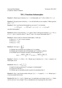 TD 2. Fonctions holomorphes ∑
