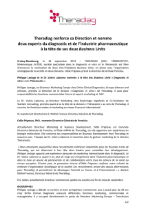 Theradiag renforce sa Direction et nomme deux experts du