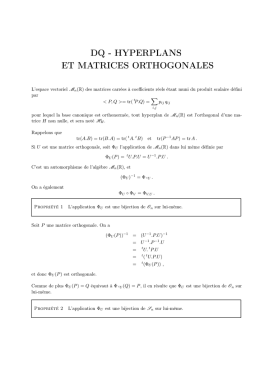 dq - hyperplans et matrices orthogonales