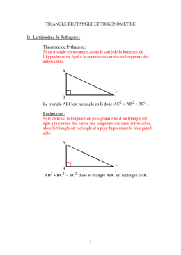 Cours Triangle rectangle et trigonométrie (prof)