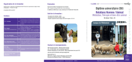 Relations Homme / Animal - UFR LLSHS