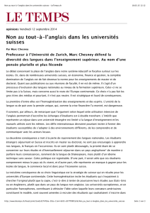 Le Temps 2014, Marc Chesney: L`anglais à l`université - Oertli