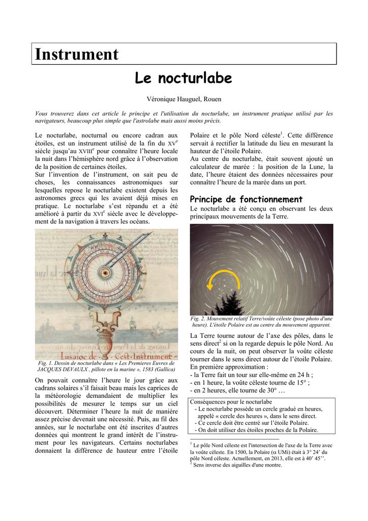 Comprendre Le Nocturlabe