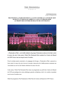 THE PENINSULA PARIS SOUTIENT LA LUTTE CONTRE LE