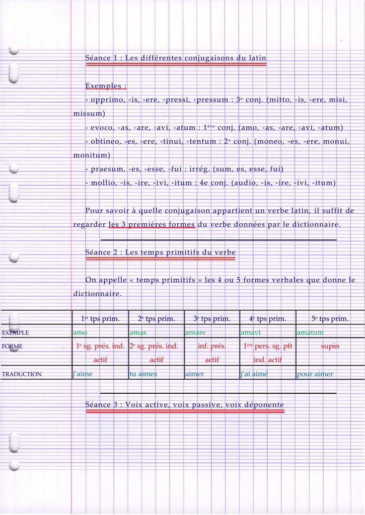 Seance 1 Les Differentes Conjugaisons Du Latin Exemples