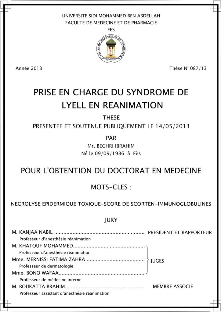 Thése Dr. Ibrahim - Faculté de Médecine et de Pharmacie Fès