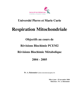 Respiration Mitochondriale - CHUPS – Jussieu