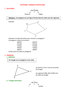 POLYGONES, TRIANGLES PARTICULIERS 1. POLYGONES POLY
