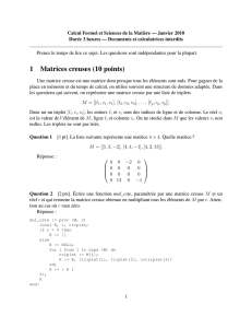 1 Matrices creuses (10 points)