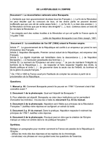 DE LA RÉPUBLIQUE À L`EMPIRE Document 1. La