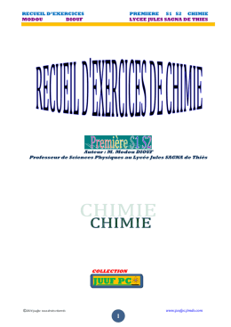 RECUEIL D`EXERCICES PREMIERE S1 S2 CHIMIE