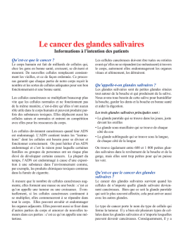 Le cancer des glandes salivaires