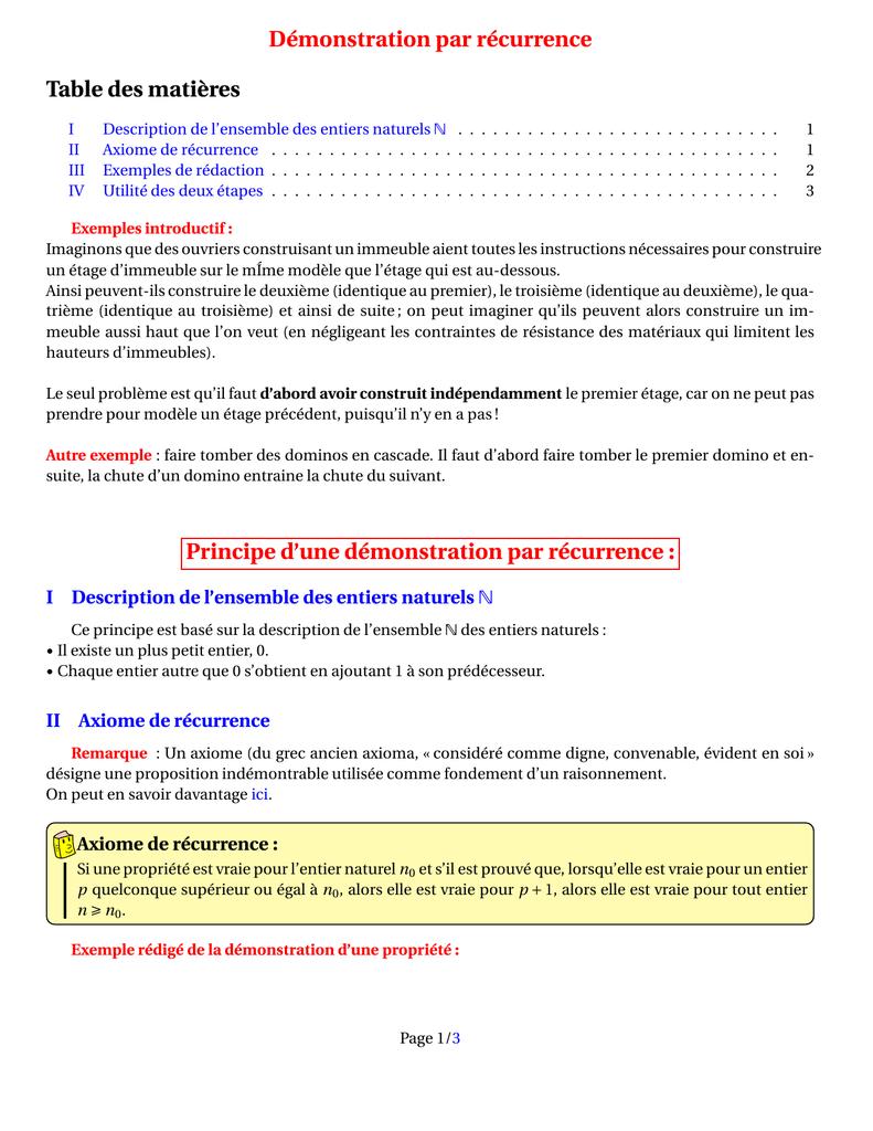 Demonstration Par Recurrence Table Des Matieres