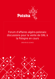 Forum d`affaires algéro-polonais: discussions pour la vente de GNL