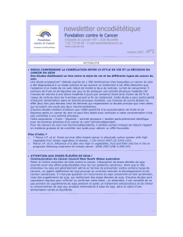 newsletter oncodiététique - Fondation contre le Cancer
