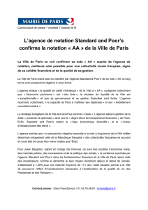 L`agence de notation Standard and Poor`s confirme la notation « AA