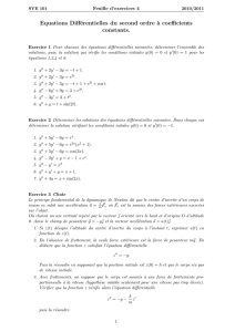 Equations Différentielles du second ordre `a coefficients constants.
