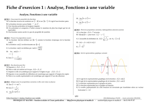 Fiche d`exercices 1 : Analyse, Fonctions à une variable