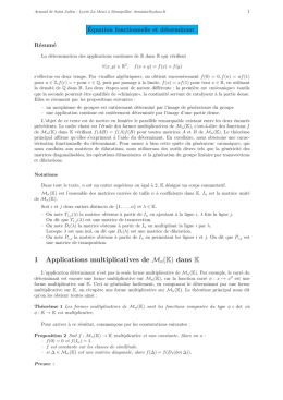 Equation fonctionnelle et déterminants.