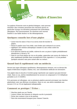 Piqûre d`insectes - Pharmacie Charles