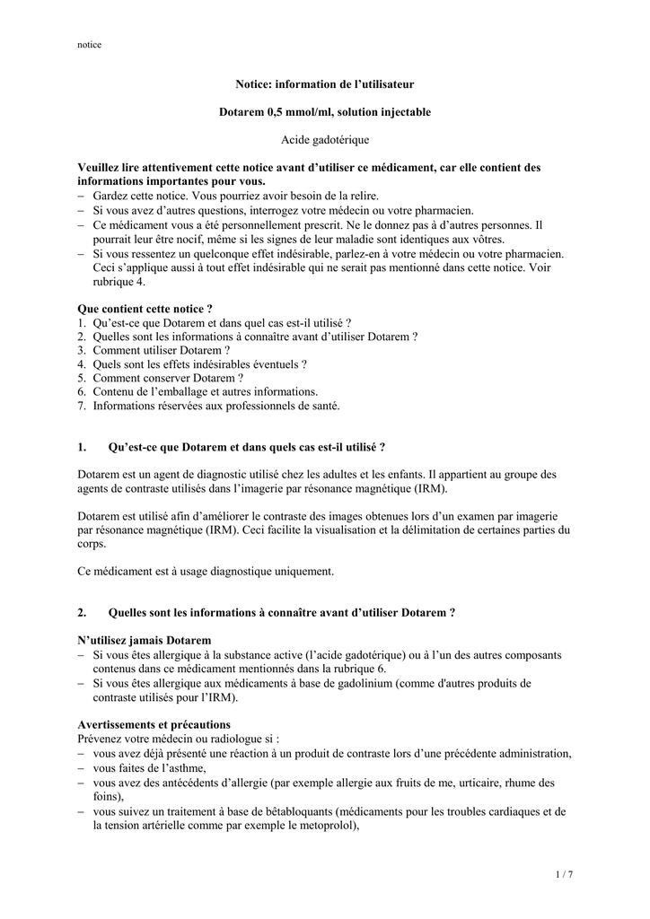 Notice: information de l`utilisateur Dotarem 0,5 mmol/ml