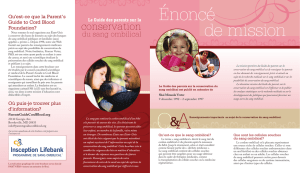 Énoncé de mission - Parent`s Guide to Cord Blood