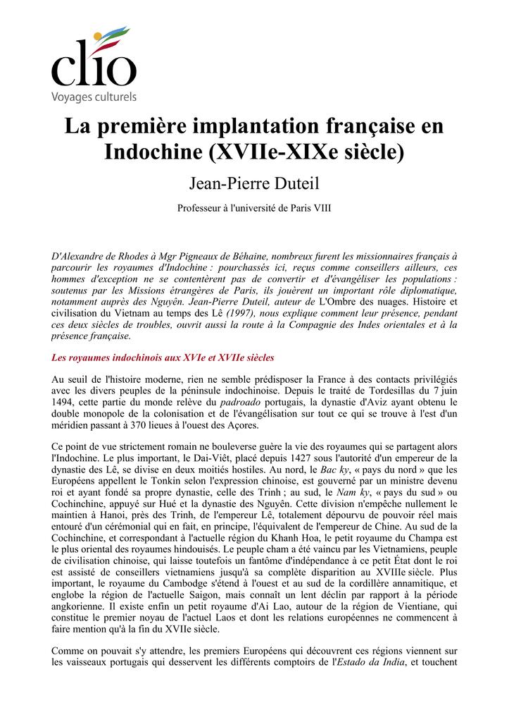 La Premiere Implantation Francaise En Indochine Xviie Xixe