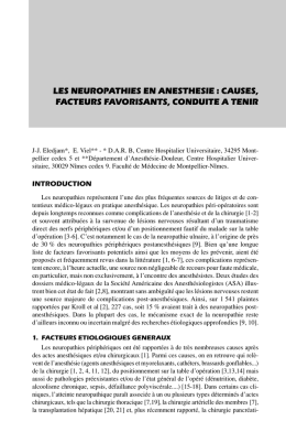 les neuropathies en anesthesie