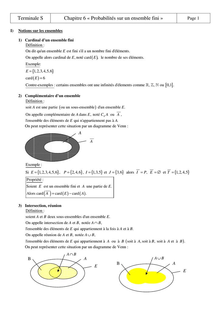 Terminale s chapitre 6 probabilits sur un ensemble fini ccuart Images