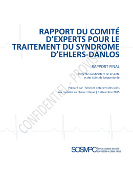 Rapport du Comité d`experts pour le traitement du syndrome d
