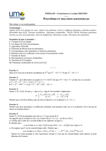 Polynˆomes et fractions rationnelles