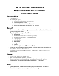 CertificationNaineRouge - Club des astronomes amateurs de Laval