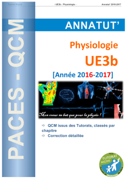 Annatut 2016-2017 - UE3b - Physiologie