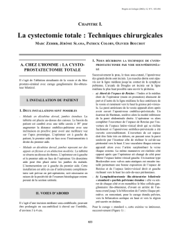 La cystectomie totale : Techniques chirurgicales