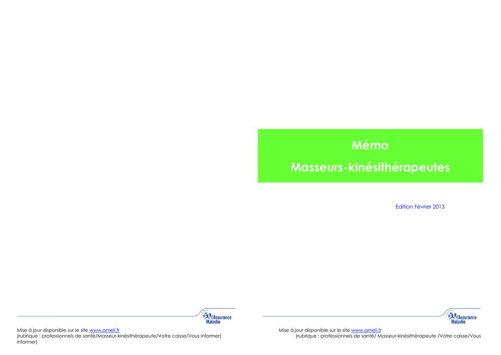 Memo Masseurs Kinesitherapeutes Voir Les Infos