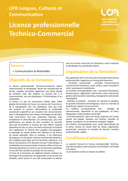 Licence professionnelle Technico-Commercial
