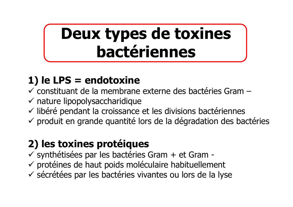 types de toxines bacteriennes)