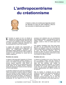 L`anthropocentrisme du créationnisme