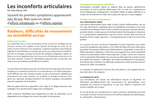 Article Inconforts Articulaires