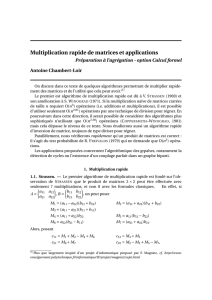 Multiplication rapide de matrices et applications