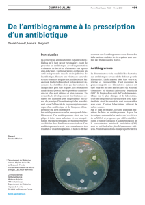 De l`antibiogramme à la prescription d`un antibiotique