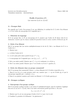Feuille d`exercices no3 A - Groupes finis B