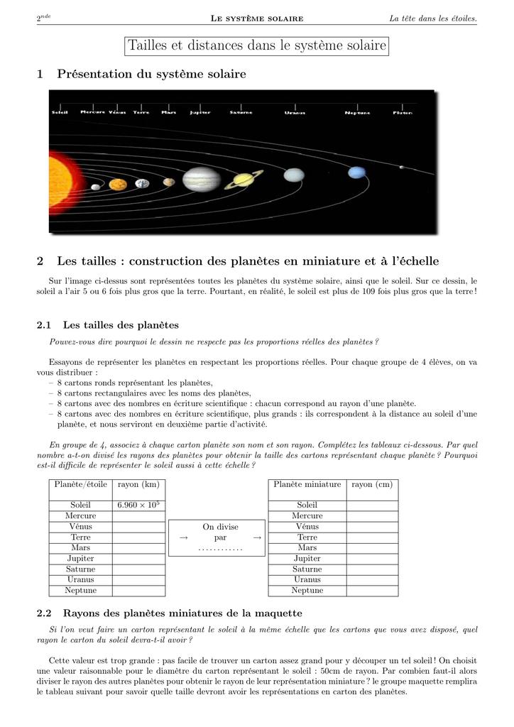 Tailles Et Distances Dans Le Système Solaire