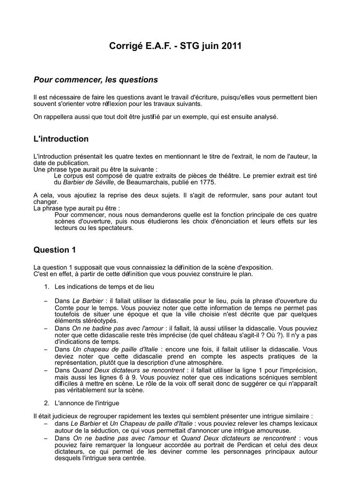 Exemple D Introduction De Corpus Rédigé - Exemple de Groupes