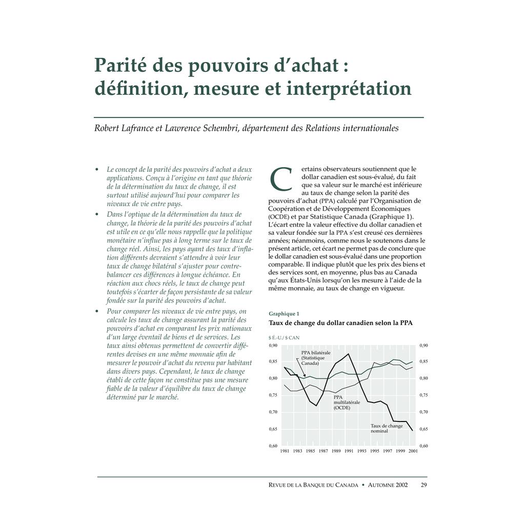 Parite Des Pouvoirs D Achat Definition Mesure Et Interpretation