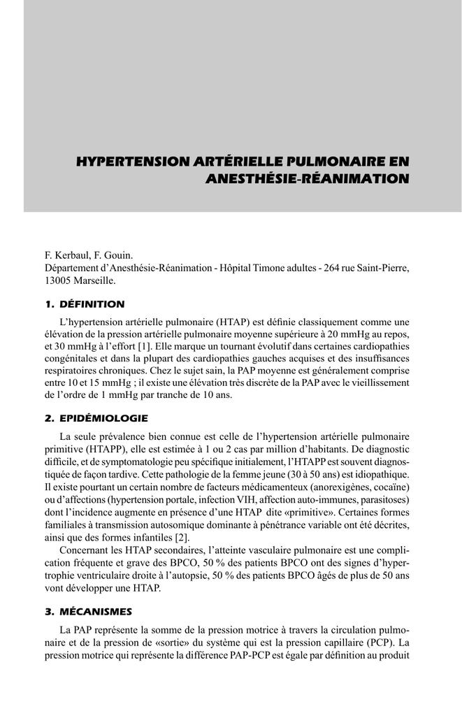 Hypertension artérielle pulmonaire en anesthésie