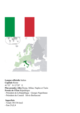 Langue officielle Italien Capitale Rome 41°53′N 12°29′E Plus