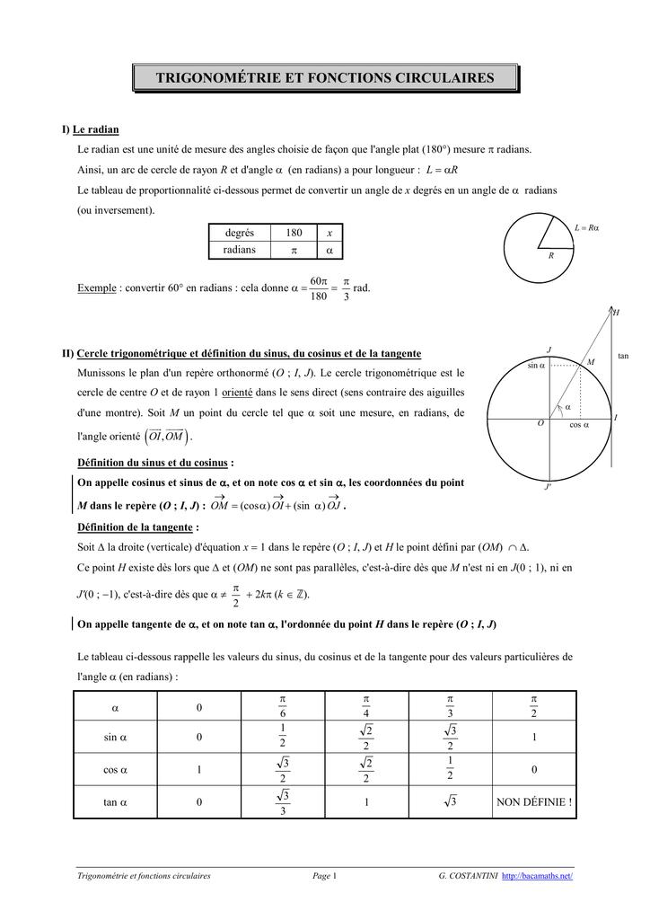 Trigonometrie Fonctions Circulaires